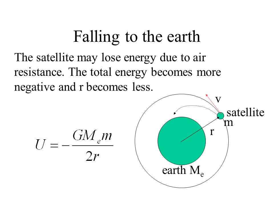 Energy and Satellite Motion r satellite earth M e v m U : U p : U k = -1 : -2 : 1