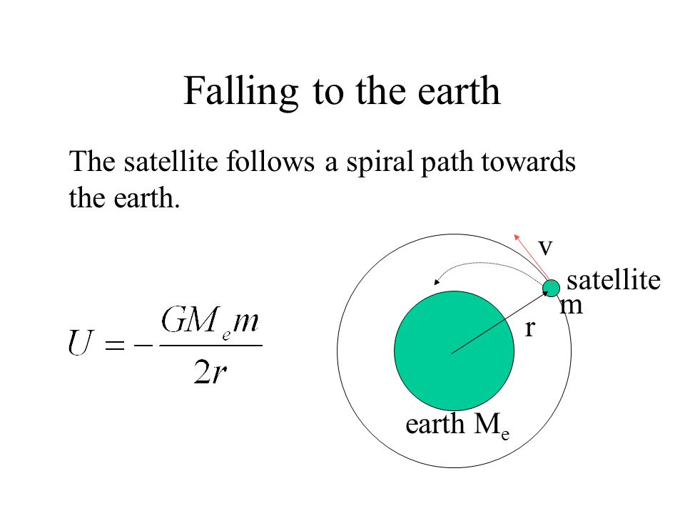 Falling to the earth r satellite earth M e v m The satellite may lose energy due to air resistance. The total energy becomes more negative and r becom