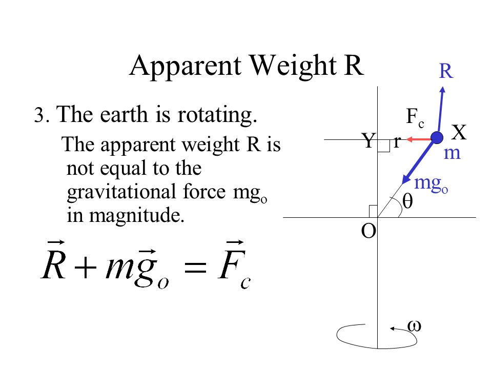 Apparent Weight R 3. The earth is rotating. The net force on the mass m must be equal to the centripetal force. So the apparent weight (normal reactio