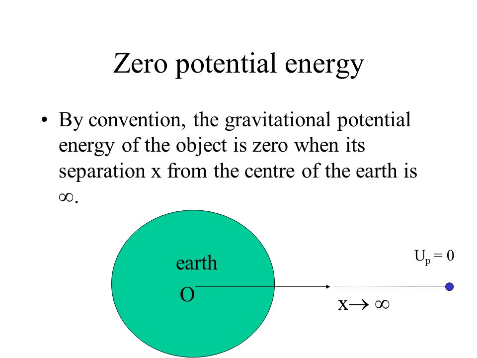 Gravitational potential energy U p Object inside a gravitational field has gravitational potential energy. When object falls towards the earth, it gai