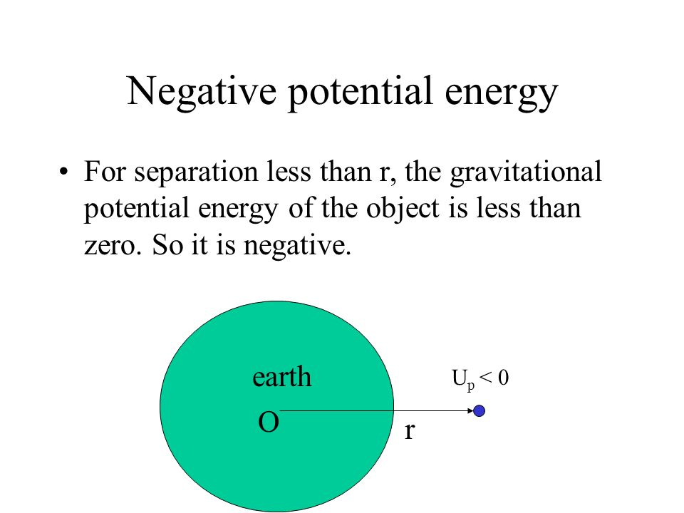 Zero potential energy By convention, the gravitational potential energy of the object is zero when its separation x from the centre of the earth is. U