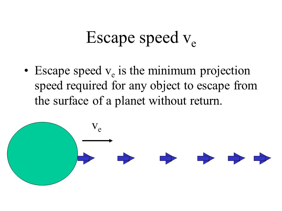 Escape speed v e Escape speed v e is the minimum projection speed required for any object to escape from the surface of a planet without return. veve