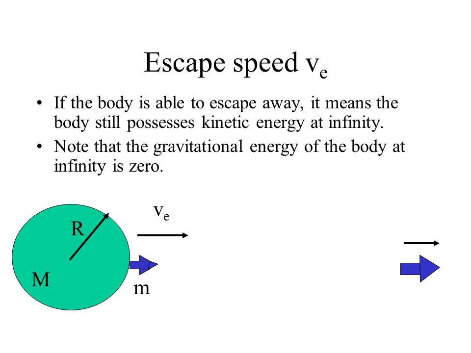 Escape speed v e On the surface of the planet, the body possesses both kinetic energy U k and gravitational potential energy U p. veve R m M UkUk UPUP