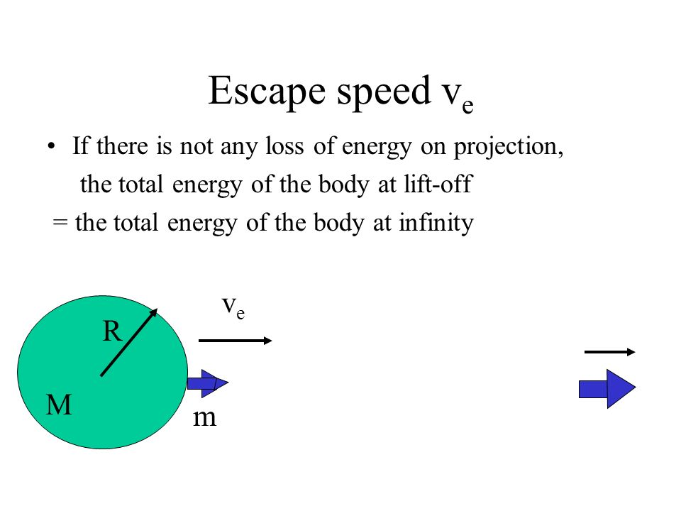 Escape speed v e If the body is able to escape away, it means the body still possesses kinetic energy at infinity. Note that the gravitational energy