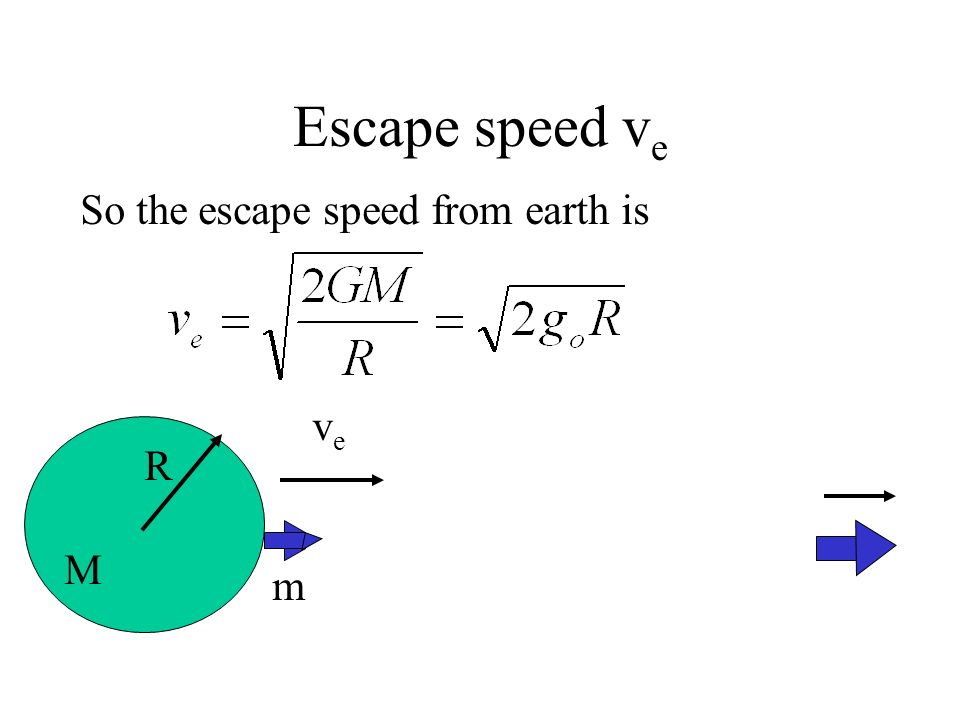 Escape speed v e veve R m M where g o is the gravitational acceleration on the surface of the earth.