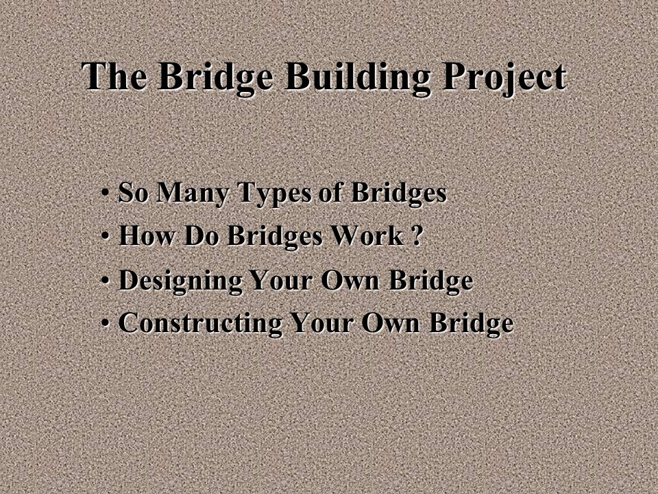 The Bridge Building Project So Many Types of Bridges How Do Bridges Work ? How Do Bridges Work ? Designing Your Own Bridge Designing Your Own Bridge C
