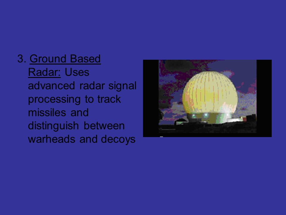 3. Ground Based Radar: Uses advanced radar signal processing to track missiles and distinguish between warheads and decoys