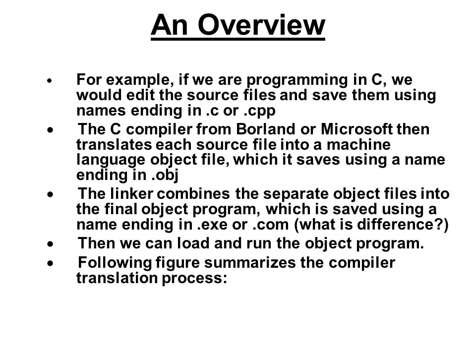 An Overview For example, if we are programming in C, we would edit the source files and save them using names ending in.c or.cpp The C compiler from B