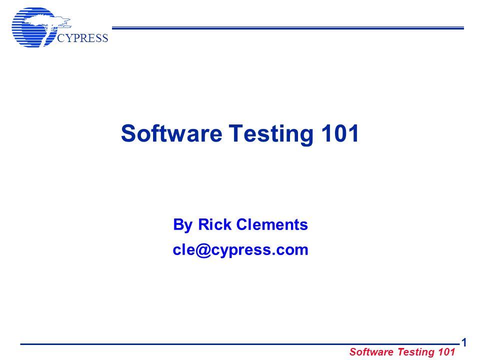 CYPRESS Software Testing 101 32