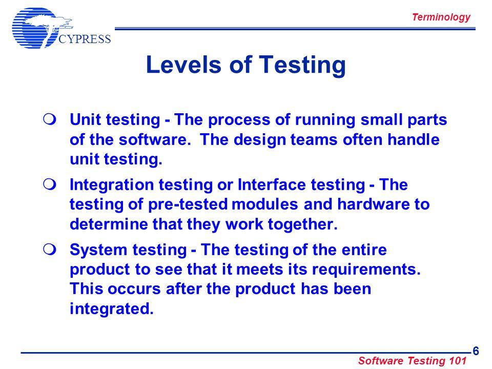 CYPRESS Software Testing 101 7 Software Development Process Define Requirements Software Design Software Implementation & Debug Test Design Test Implementation & Debug Software Test Software Release