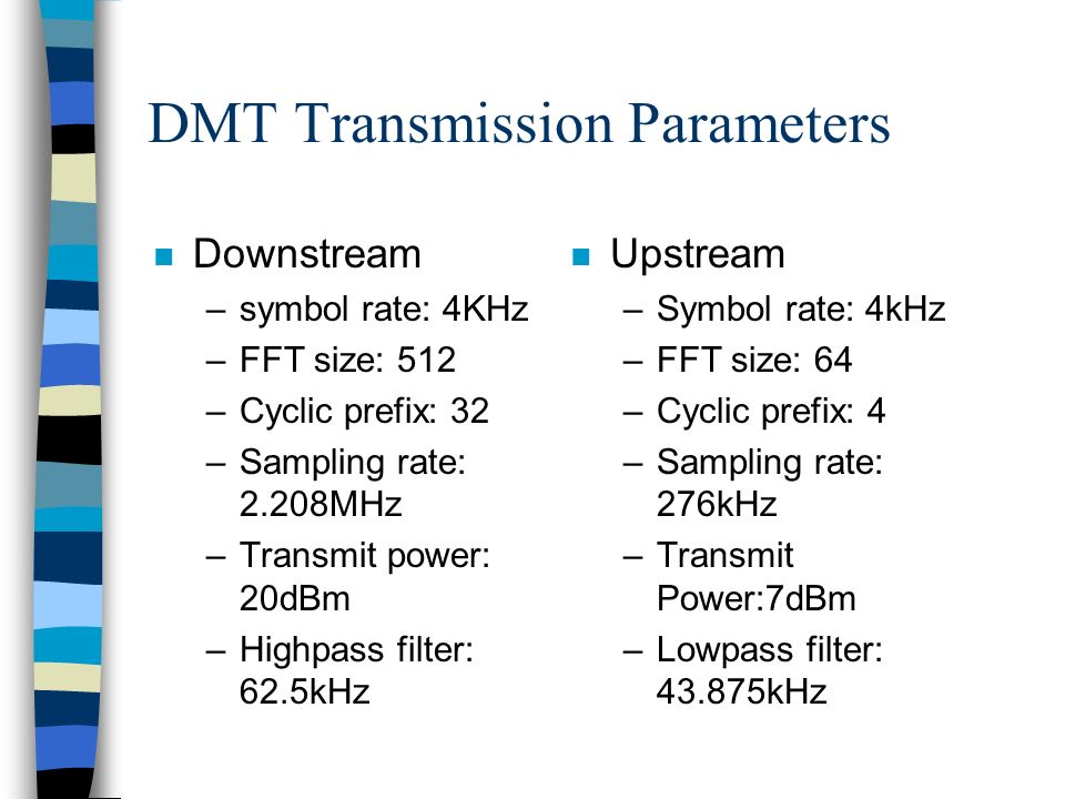 DMT Transmission Parameters n Downstream –symbol rate: 4KHz –FFT size: 512 –Cyclic prefix: 32 –Sampling rate: 2.208MHz –Transmit power: 20dBm –Highpass filter: 62.5kHz n Upstream –Symbol rate: 4kHz –FFT size: 64 –Cyclic prefix: 4 –Sampling rate: 276kHz –Transmit Power:7dBm –Lowpass filter: 43.875kHz