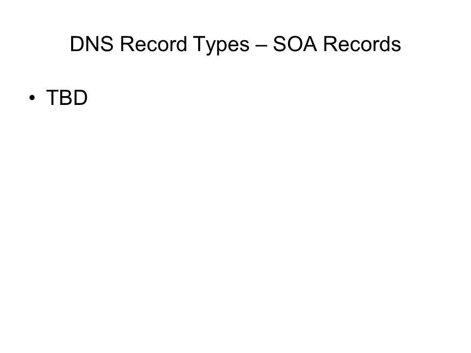 DNS Record Types – SOA Records TBD