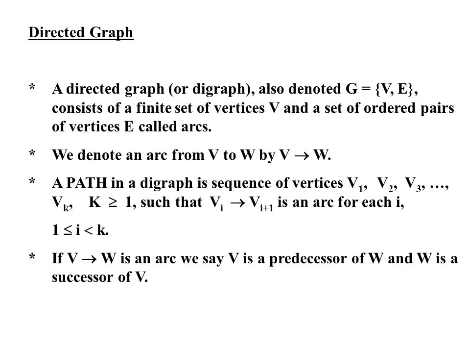 Directed Graph *A directed graph (or digraph), also denoted G = {V, E}, consists of a finite set of vertices V and a set of ordered pairs of vertices