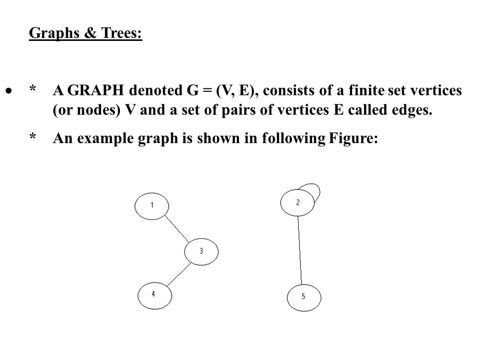 Graphs & Trees: * A GRAPH denoted G = (V, E), consists of a finite set vertices (or nodes) V and a set of pairs of vertices E called edges. *An exampl