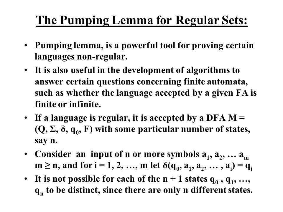 The Pumping Lemma for Regular Sets: Thus there are tow integers j and k, 0 j < k n, such that q j = q k.