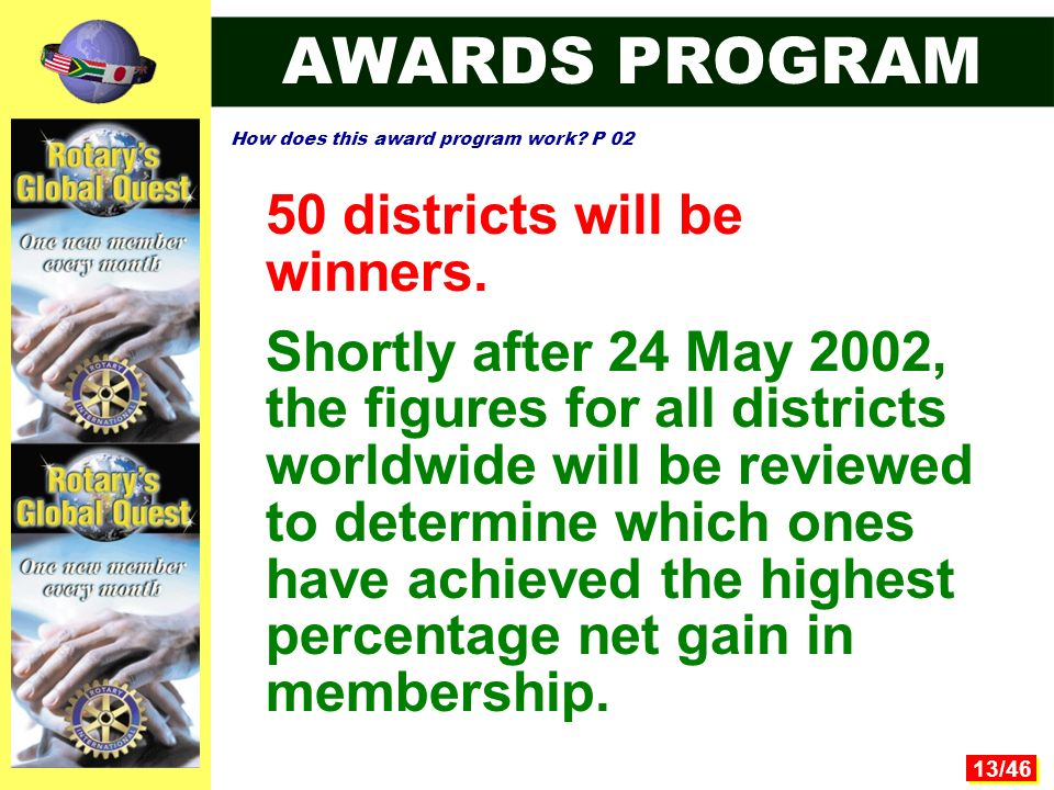 13/46 50 districts will be winners.