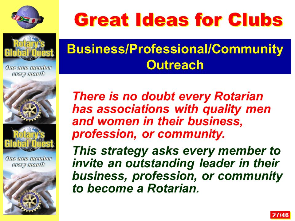 27/46 There is no doubt every Rotarian has associations with quality men and women in their business, profession, or community.