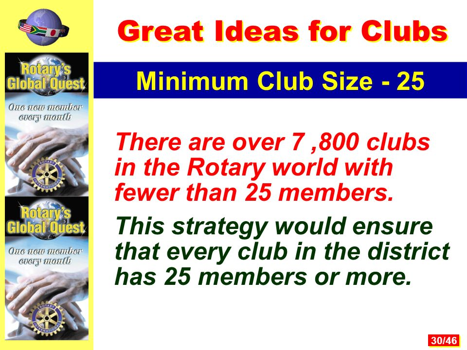 30/46 There are over 7,800 clubs in the Rotary world with fewer than 25 members.