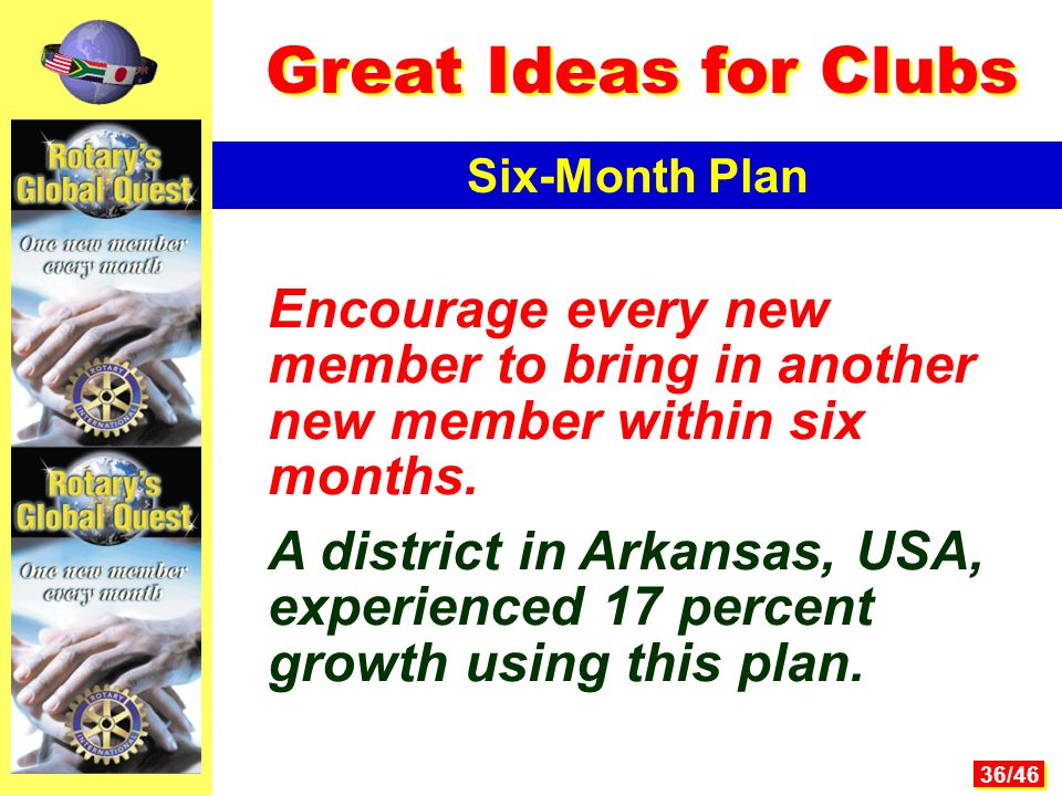 36/46 Encourage every new member to bring in another new member within six months.