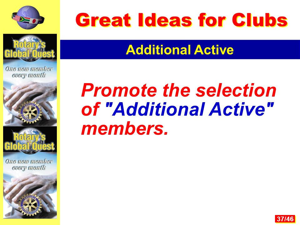 37/46 Promote the selection of Additional Active members. Additional Active Great Ideas for Clubs