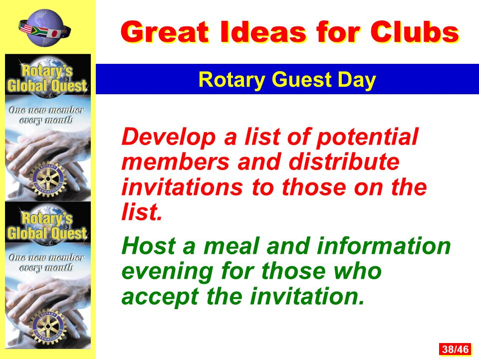 38/46 Develop a list of potential members and distribute invitations to those on the list.