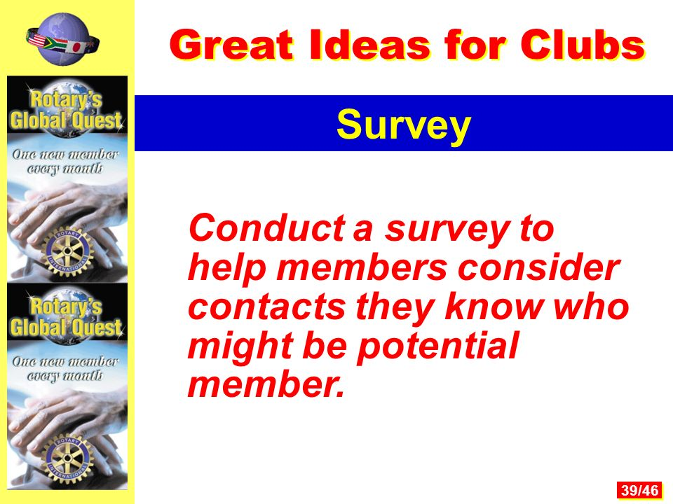 39/46 Conduct a survey to help members consider contacts they know who might be potential member.