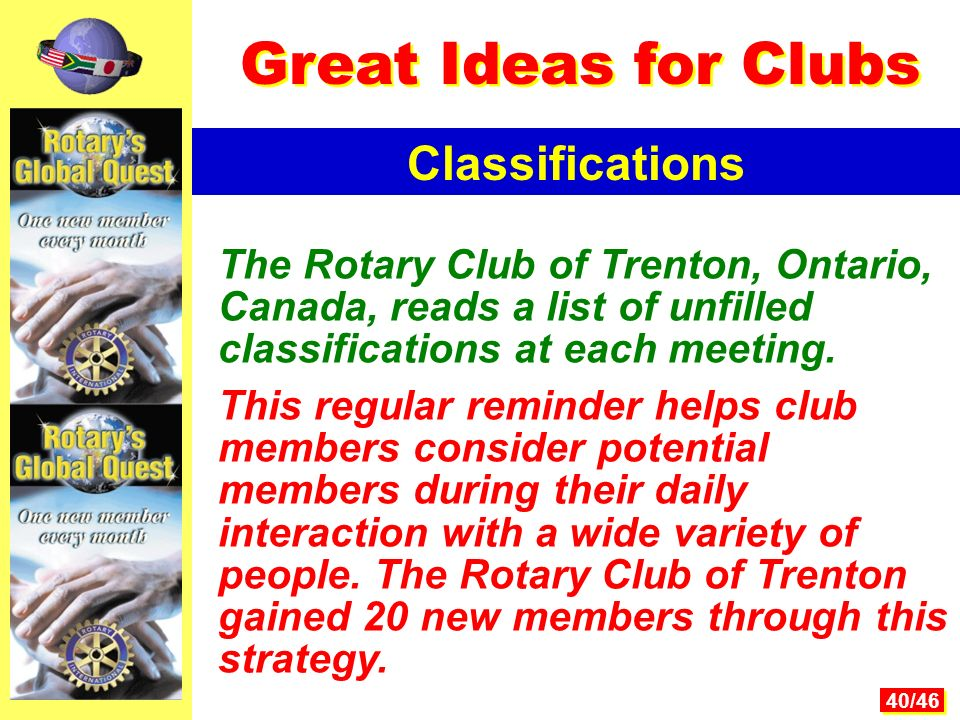 40/46 The Rotary Club of Trenton, Ontario, Canada, reads a list of unfilled classifications at each meeting.