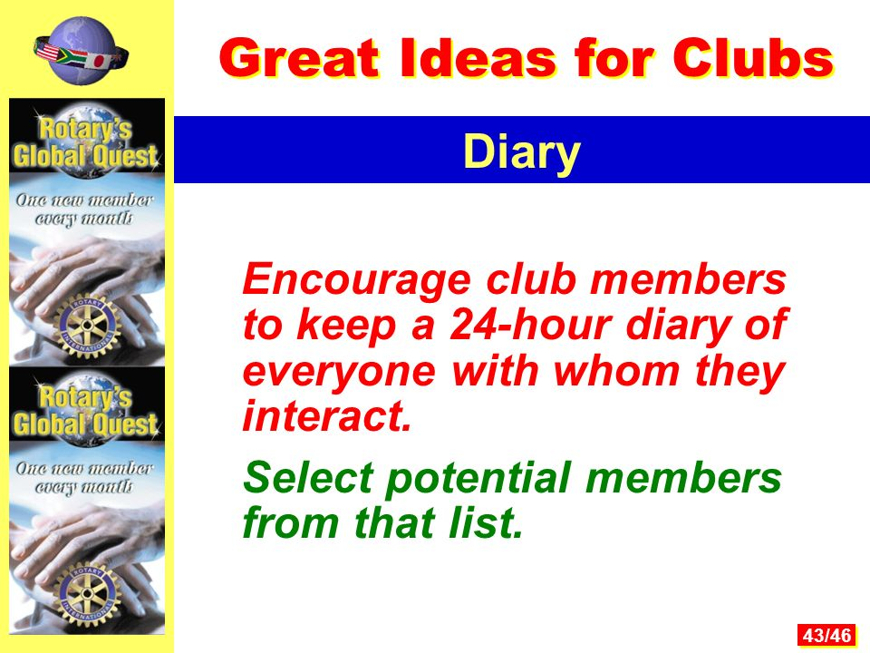 43/46 Encourage club members to keep a 24-hour diary of everyone with whom they interact.