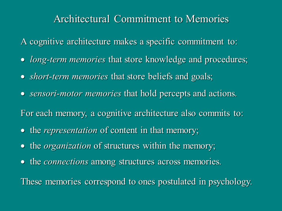 A cognitive architecture makes a specific commitment to: long-term memories that store knowledge and procedures; long-term memories that store knowledge and procedures; short-term memories that store beliefs and goals; short-term memories that store beliefs and goals; sensori-motor memories that hold percepts and actions.