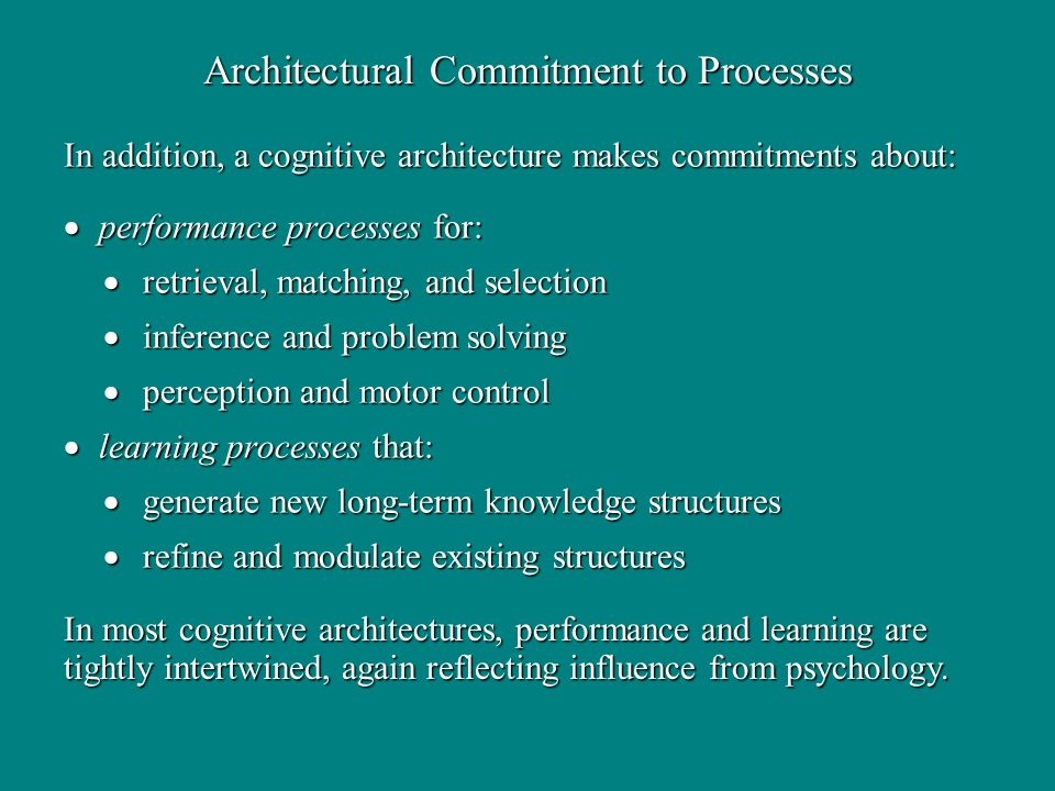 In addition, a cognitive architecture makes commitments about: performance processes for: performance processes for: retrieval, matching, and selection retrieval, matching, and selection inference and problem solving inference and problem solving perception and motor control perception and motor control learning processes that: learning processes that: generate new long-term knowledge structures generate new long-term knowledge structures refine and modulate existing structures refine and modulate existing structures Architectural Commitment to Processes In most cognitive architectures, performance and learning are tightly intertwined, again reflecting influence from psychology.