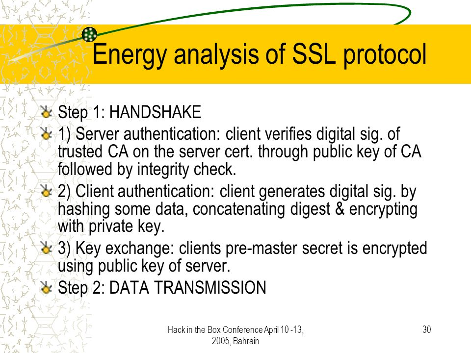 Hack in the Box Conference April 10 -13, 2005, Bahrain 30 Energy analysis of SSL protocol Step 1: HANDSHAKE 1) Server authentication: client verifies digital sig.