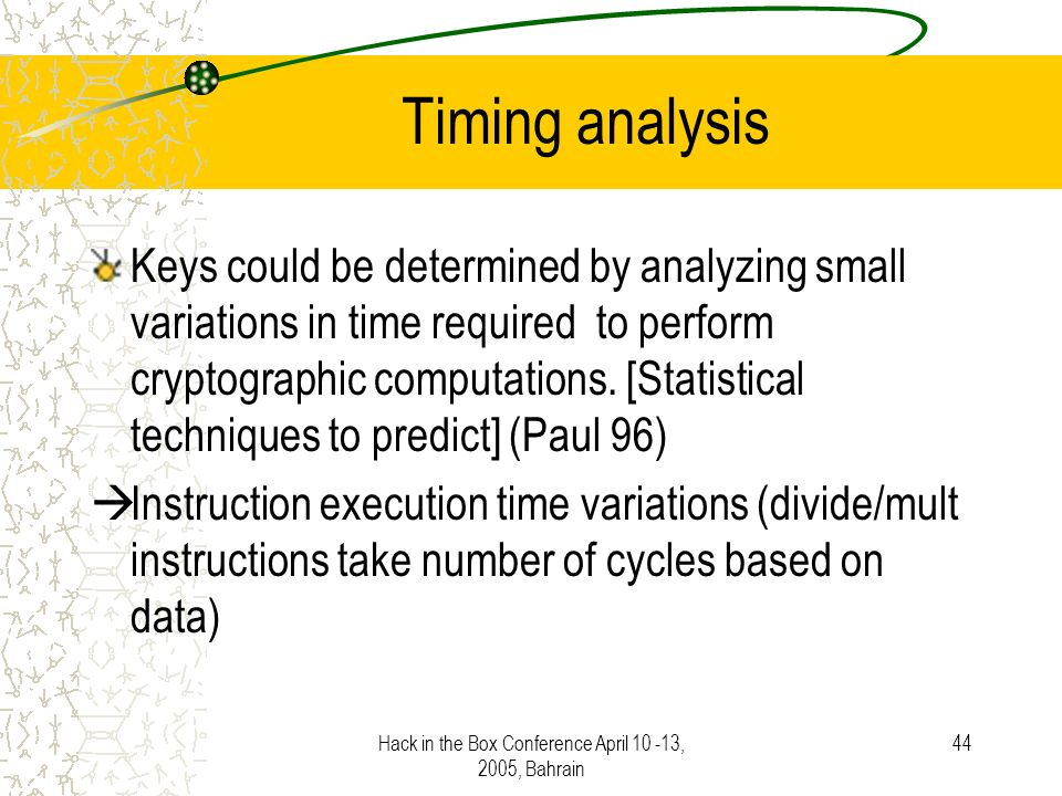 Hack in the Box Conference April 10 -13, 2005, Bahrain 44 Timing analysis Keys could be determined by analyzing small variations in time required to perform cryptographic computations.