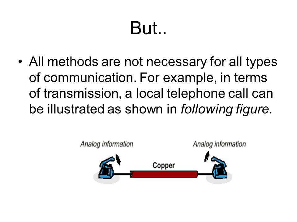 But.. All methods are not necessary for all types of communication. For example, in terms of transmission, a local telephone call can be illustrated a