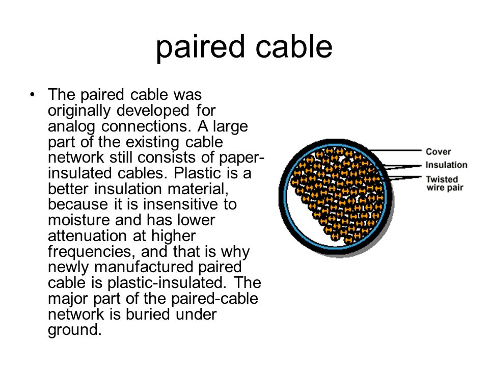 paired cable The paired cable was originally developed for analog connections. A large part of the existing cable network still consists of paper- ins