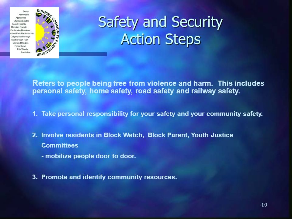 10 Safety and Security Action Steps R efers to people being free from violence and harm. This includes personal safety, home safety, road safety and r
