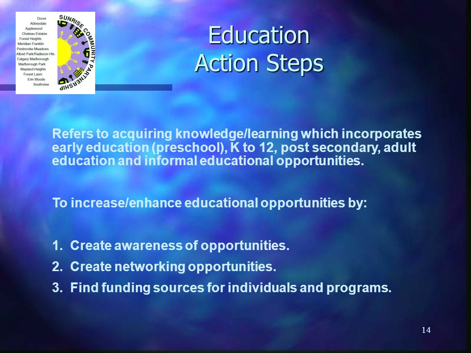 14 Education Action Steps Refers to acquiring knowledge/learning which incorporates early education (preschool), K to 12, post secondary, adult educat