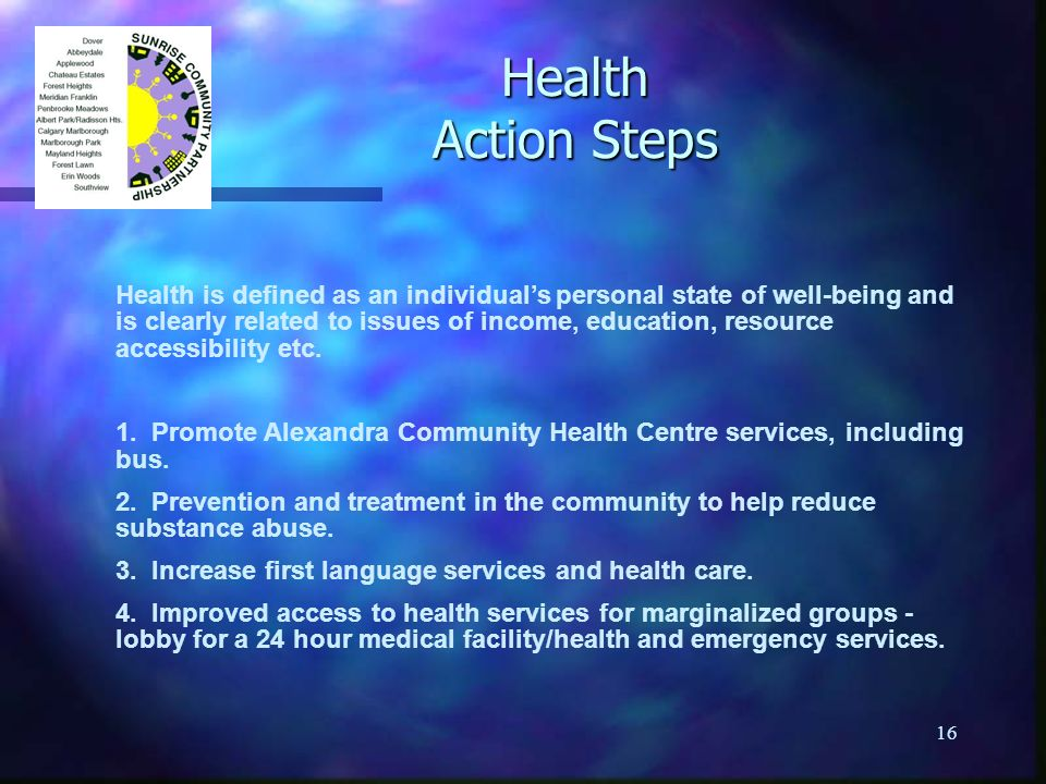16 Health Action Steps Health is defined as an individuals personal state of well-being and is clearly related to issues of income, education, resourc