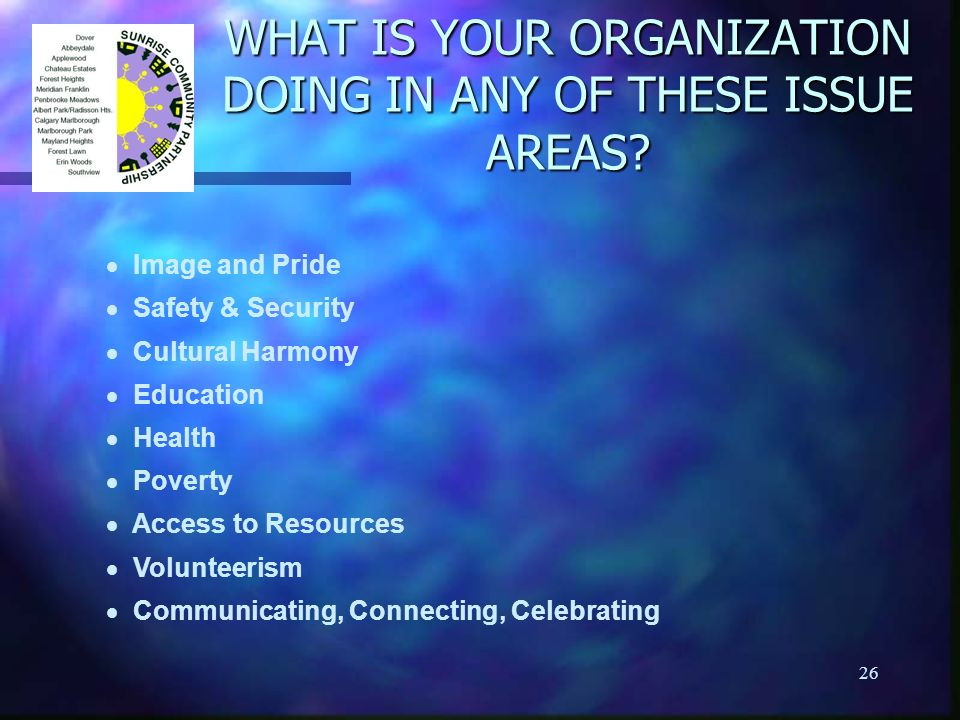 26 WHAT IS YOUR ORGANIZATION DOING IN ANY OF THESE ISSUE AREAS? Image and Pride Safety & Security Cultural Harmony Education Health Poverty Access to