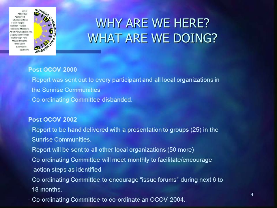 4 WHY ARE WE HERE? WHAT ARE WE DOING? Post OCOV 2000 - Report was sent out to every participant and all local organizations in the Sunrise Communities