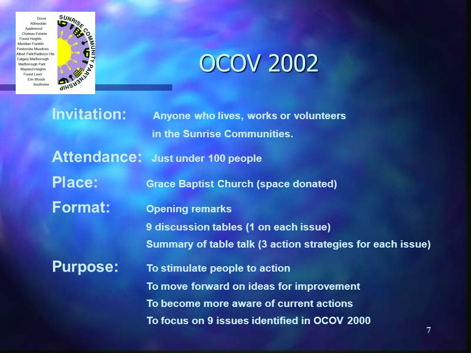 7 OCOV 2002 Invitation: Anyone who lives, works or volunteers in the Sunrise Communities. Attendance: Just under 100 people Place: Grace Baptist Churc