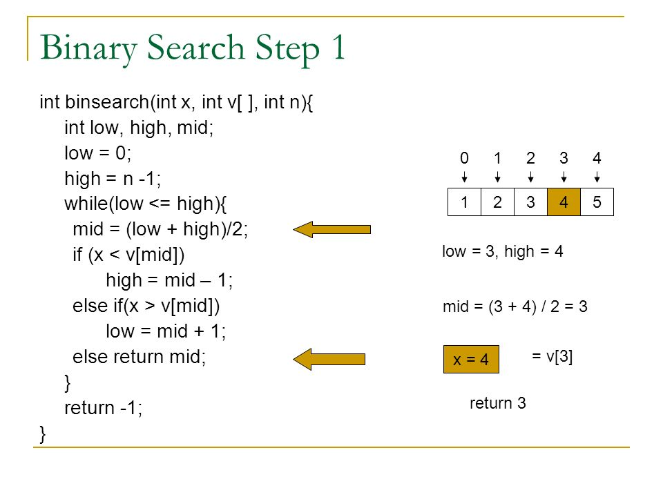 Binary Search Step 1 int binsearch(int x, int v[ ], int n){ int low, high, mid; low = 0; high = n -1; while(low <= high){ mid = (low + high)/2; if (x < v[mid]) high = mid – 1; else if(x > v[mid]) low = mid + 1; else return mid; } return -1; } low = 3, high = 4 mid = (3 + 4) / 2 = 3 x = 4 = v[3] return 3 4