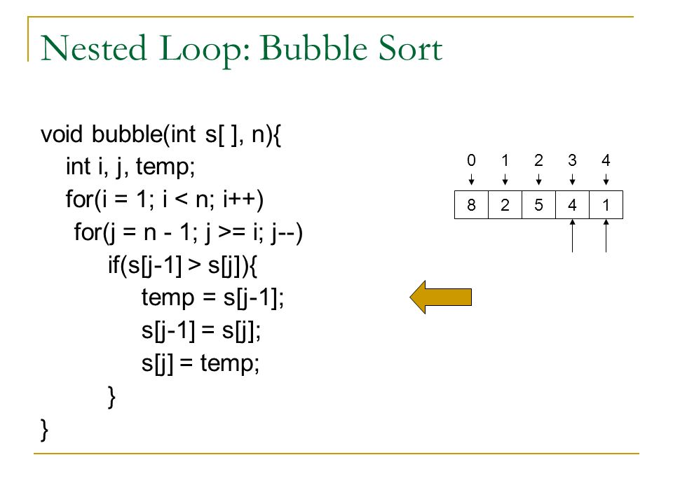 Nested Loop: Bubble Sort void bubble(int s[ ], n){ int i, j, temp; for(i = 1; i < n; i++) for(j = n - 1; j >= i; j--) if(s[j-1] > s[j]){ temp = s[j-1]; s[j-1] = s[j]; s[j] = temp; }
