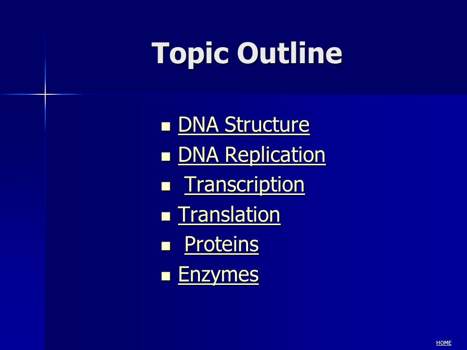 Topic Outline DNA Structure DNA Structure DNA Structure DNA Structure DNA Replication DNA Replication DNA Replication DNA Replication Transcription Tr