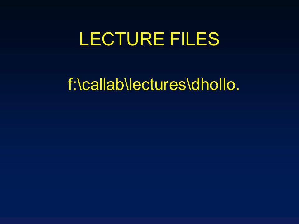 LECTURE FILES f:\callab\lectures\dhollo.