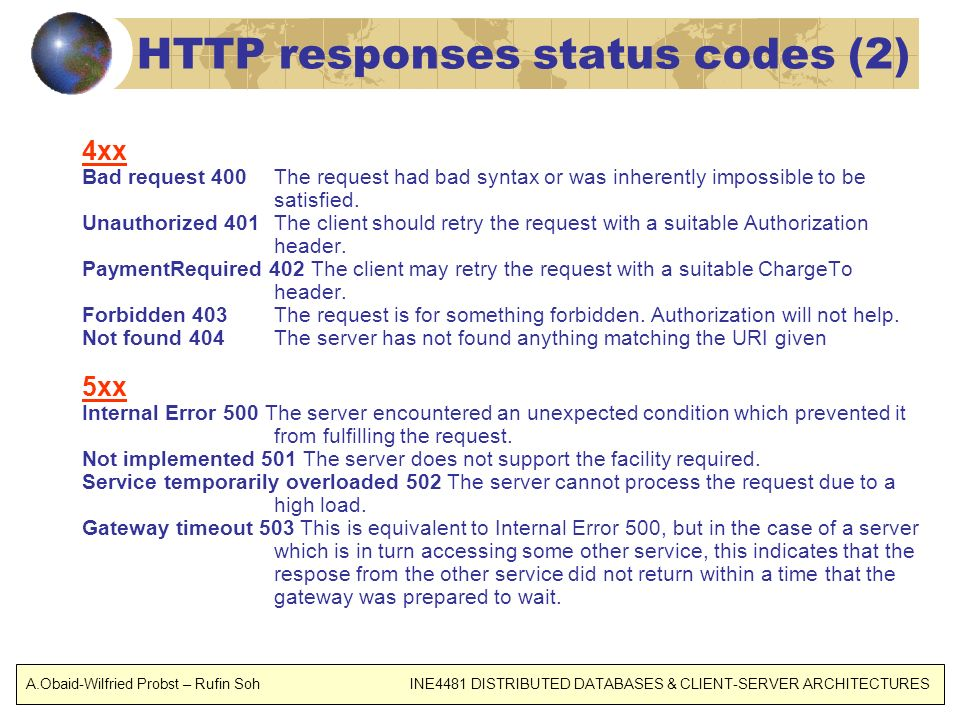 HTTP responses status codes (2) 4xx Bad request 400 The request had bad syntax or was inherently impossible to be satisfied.
