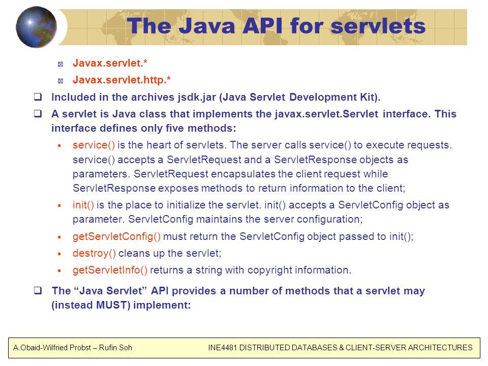 The Java API for servlets Javax.servlet.* Javax.servlet.http.* Included in the archives jsdk.jar (Java Servlet Development Kit). A servlet is Java cla