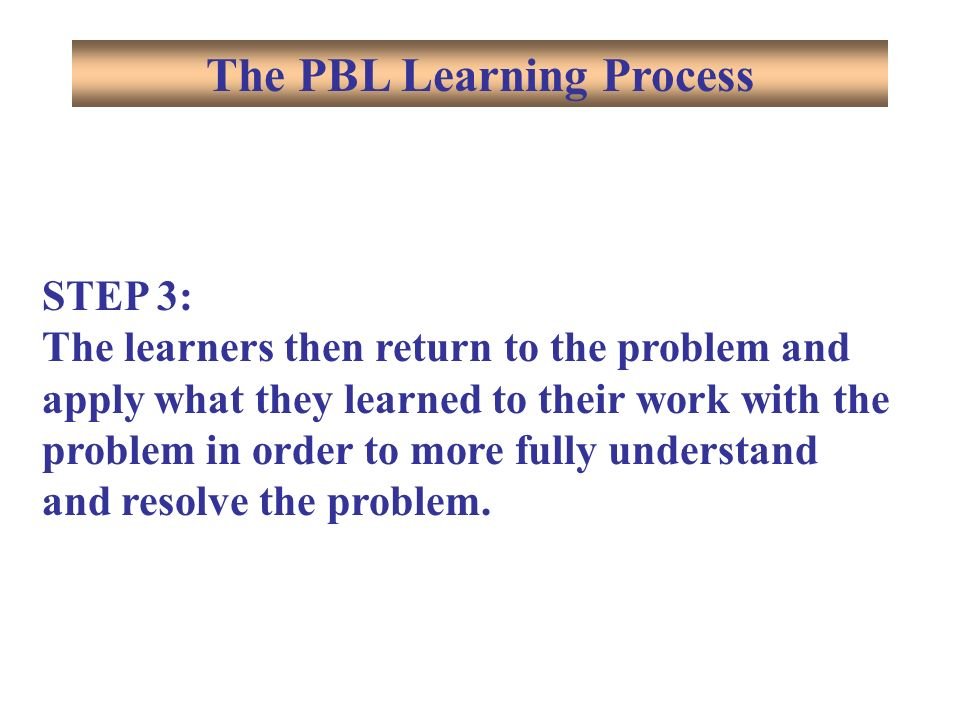 STEP 3: The learners then return to the problem and apply what they learned to their work with the problem in order to more fully understand and resolve the problem.