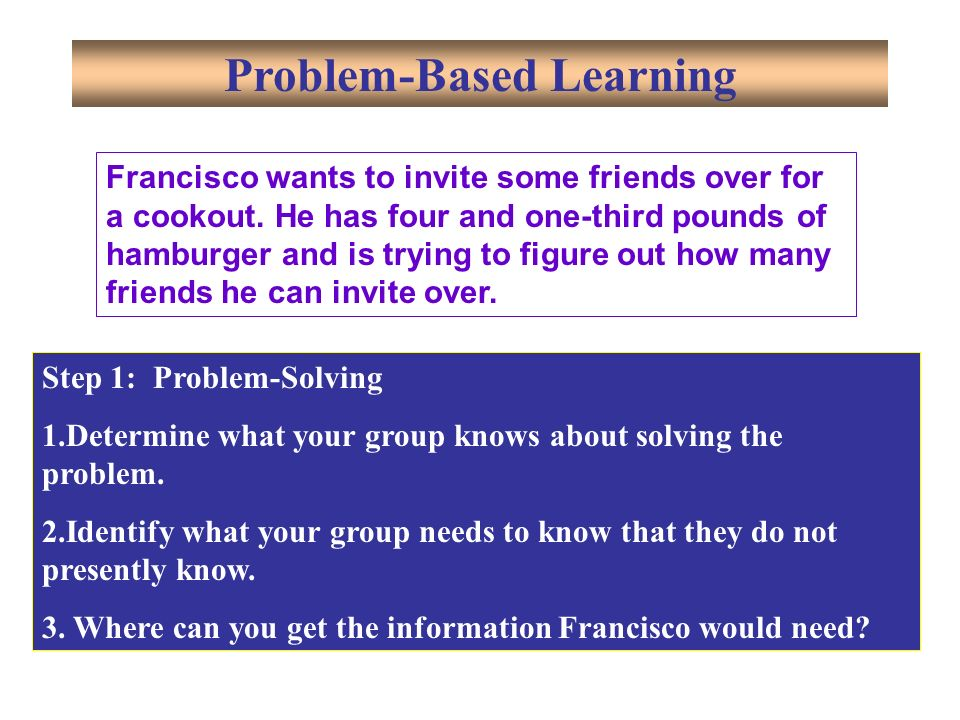 Step 1: Problem-Solving 1.Determine what your group knows about solving the problem.