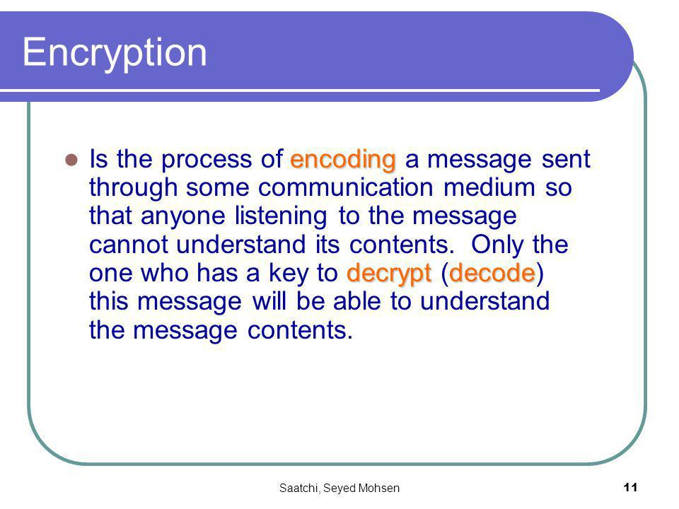 Saatchi, Seyed Mohsen11 Encryption encoding decryptdecode Is the process of encoding a message sent through some communication medium so that anyone l