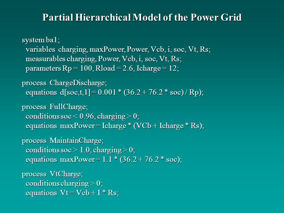 Partial Hierarchical Model of the Power Grid system ba1; variables charging, maxPower, Power, Vcb, i, soc, Vt, Rs; variables charging, maxPower, Power